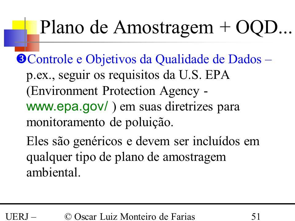 UERJ – Março 2008 © Oscar Luiz Monteiro de Farias51 Controle e Objetivos da Qualidade de Dados – p.ex., seguir os requisitos da U.S. EPA (Environment