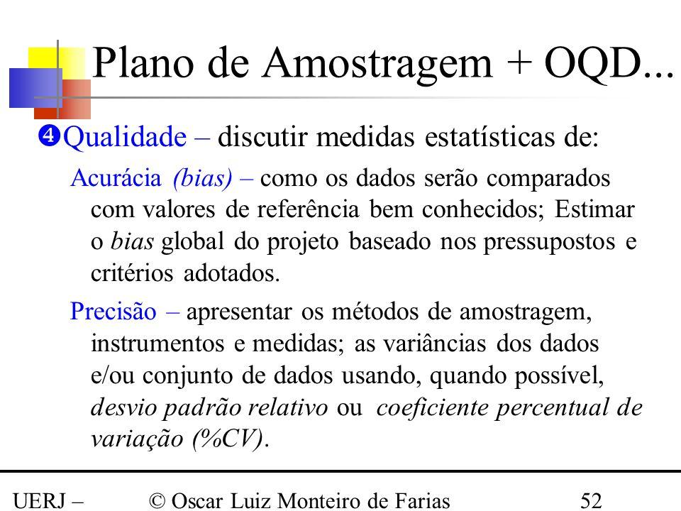UERJ – Março 2008 © Oscar Luiz Monteiro de Farias52 Qualidade – discutir medidas estatísticas de: Acurácia (bias) – como os dados serão comparados com