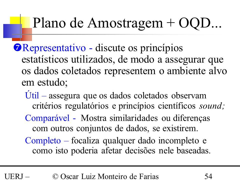 UERJ – Março 2008 © Oscar Luiz Monteiro de Farias54 Representativo - discute os princípios estatísticos utilizados, de modo a assegurar que os dados c