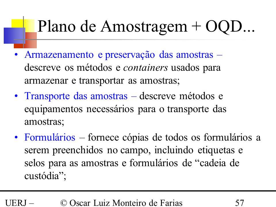 UERJ – Março 2008 © Oscar Luiz Monteiro de Farias57 Armazenamento e preservação das amostras – descreve os métodos e containers usados para armazenar