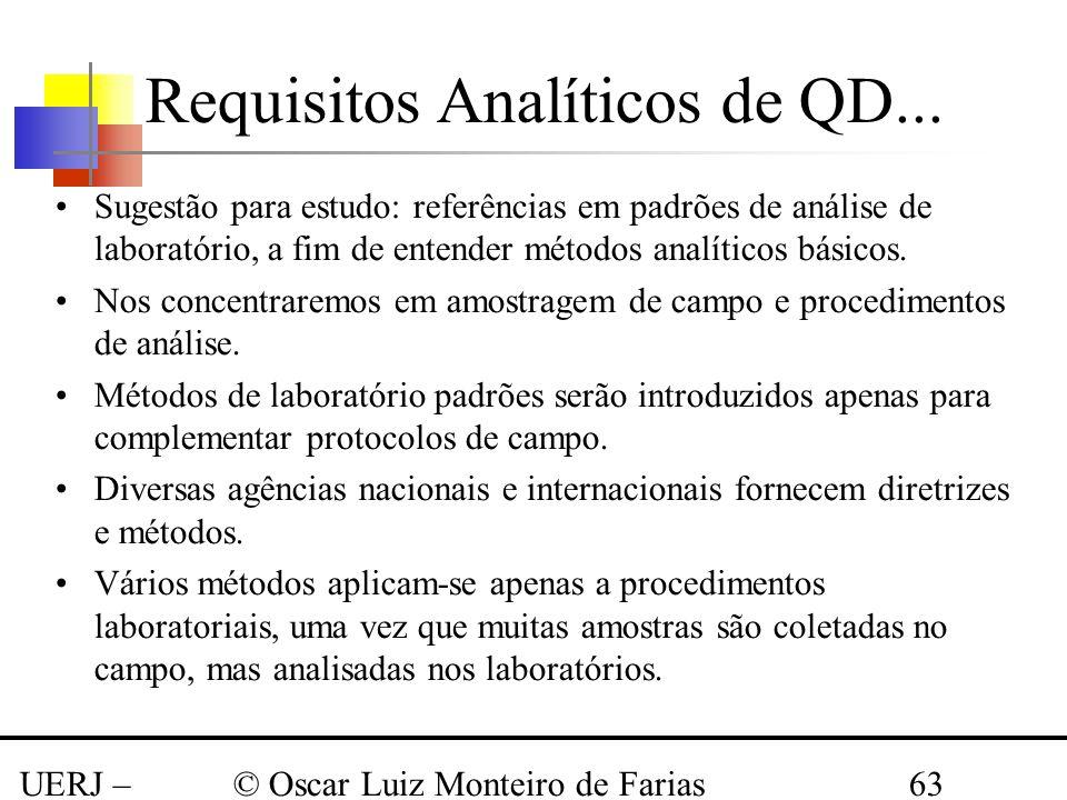 UERJ – Março 2008 © Oscar Luiz Monteiro de Farias63 Sugestão para estudo: referências em padrões de análise de laboratório, a fim de entender métodos