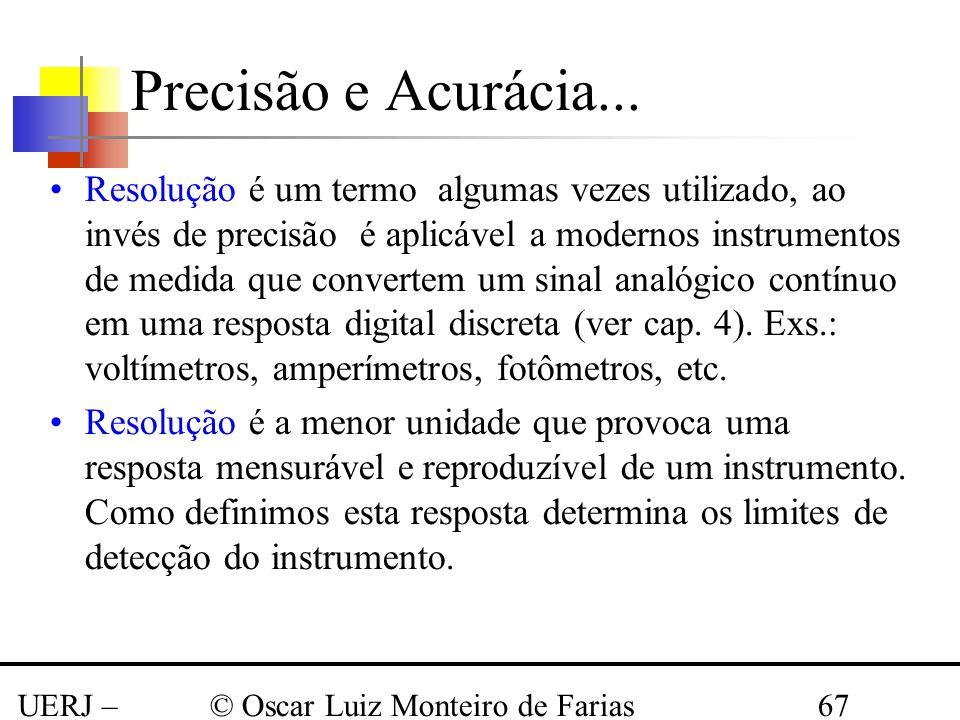 UERJ – Março 2008 © Oscar Luiz Monteiro de Farias67 Resolução é um termo algumas vezes utilizado, ao invés de precisão é aplicável a modernos instrume