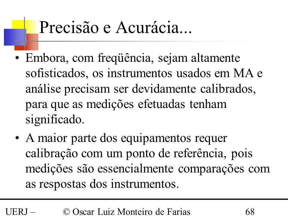 UERJ – Março 2008 © Oscar Luiz Monteiro de Farias68 Embora, com freqüência, sejam altamente sofisticados, os instrumentos usados em MA e análise preci