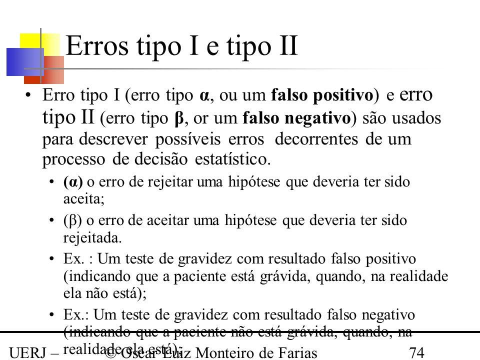 UERJ – Março 2008 © Oscar Luiz Monteiro de Farias74 Erros tipo I e tipo II Erro tipo I (erro tipo α, ou um falso positivo) e erro tipo II (erro tipo β