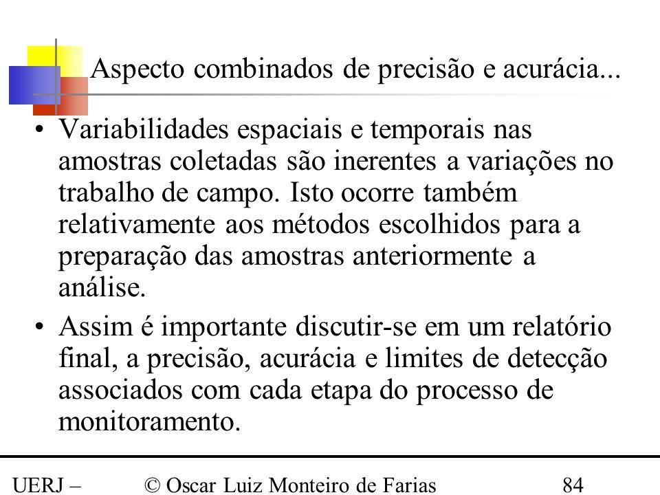 UERJ – Março 2008 © Oscar Luiz Monteiro de Farias84 Aspecto combinados de precisão e acurácia... Variabilidades espaciais e temporais nas amostras col