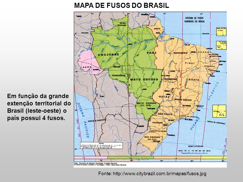 Fonte: http://www.citybrazil.com.br/mapas/fusos.jpg MAPA DE FUSOS DO BRASIL Em função da grande extenção territorial do Brasil (leste-oeste) o país po
