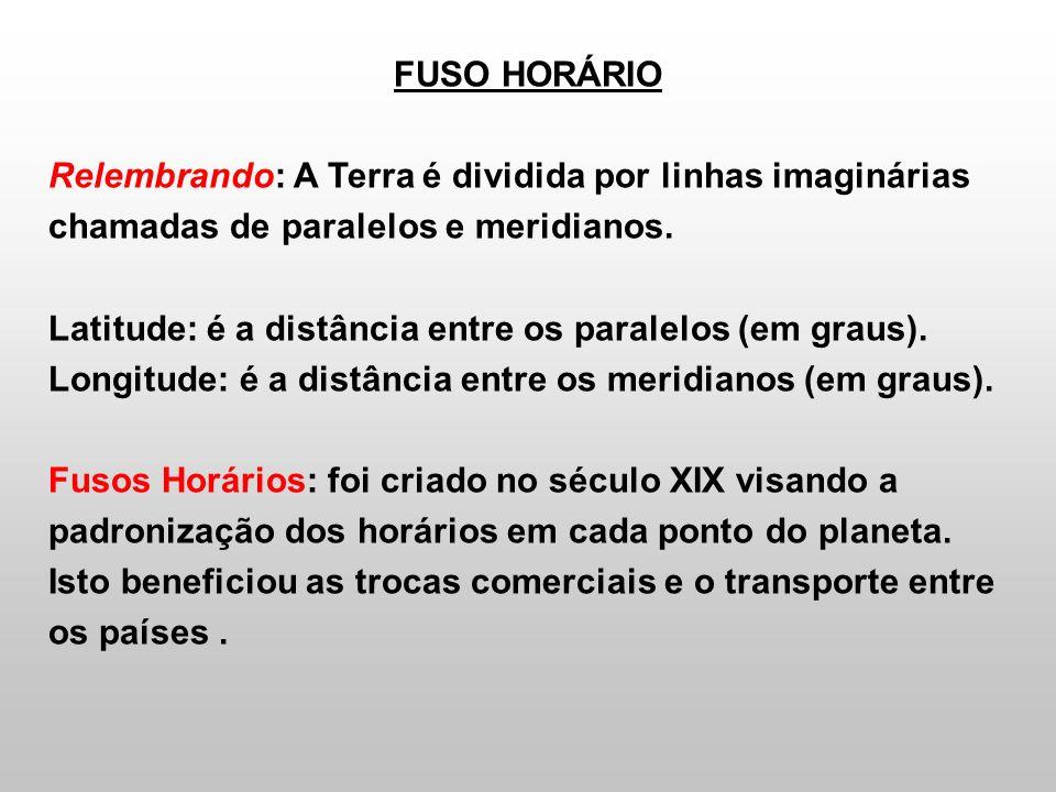 FUSO HORÁRIO Como é a divisão em Fusos Horários.