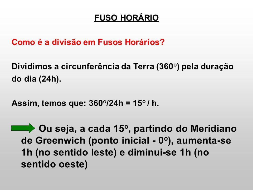 FUSO HORÁRIO Como é a divisão em Fusos Horários? Dividimos a circunferência da Terra (360 o ) pela duração do dia (24h). Assim, temos que: 360 o /24h
