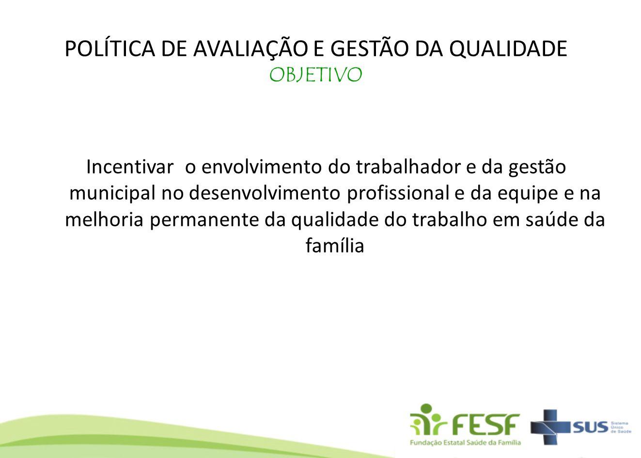 POLÍTICA DE AVALIAÇÃO E GESTÃO DA QUALIDADE OBJETIVO Incentivar o envolvimento do trabalhador e da gestão municipal no desenvolvimento profissional e