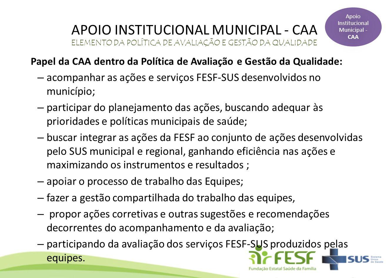 APOIO INSTITUCIONAL MUNICIPAL - CAA ELEMENTO DA POLÍTICA DE AVALIAÇÃO E GESTÃO DA QUALIDADE Papel da CAA dentro da Política de Avaliação e Gestão da Q