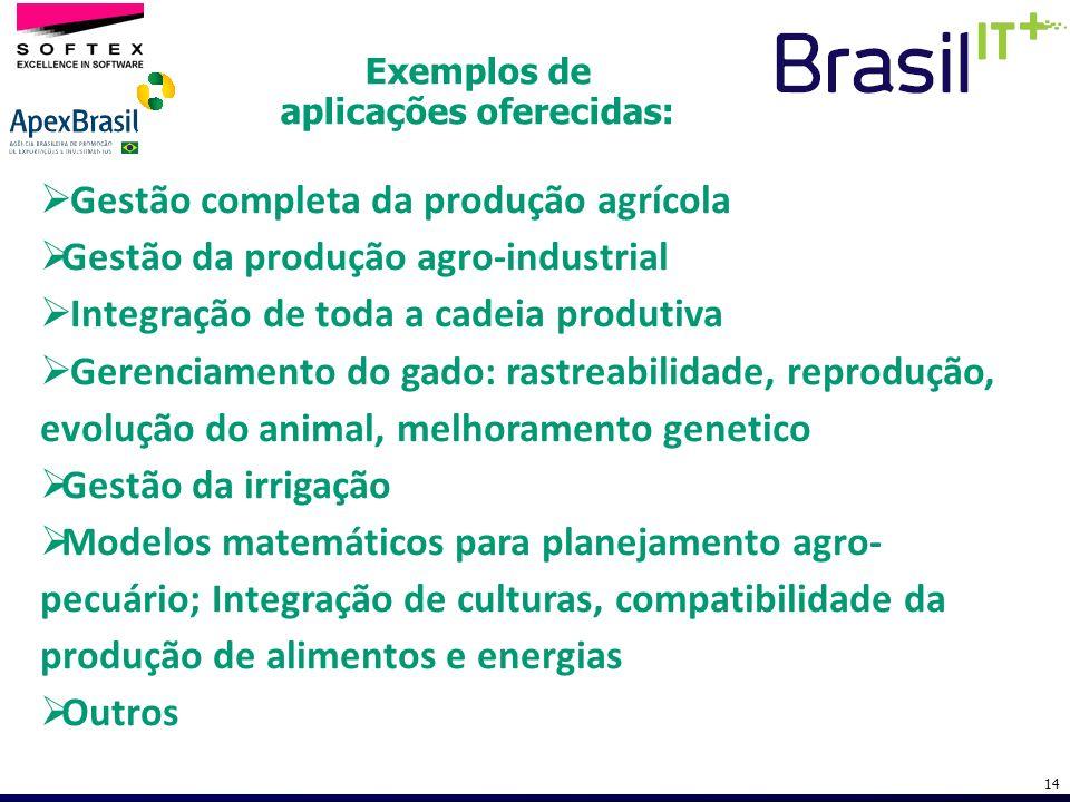 Exemplos de aplicações oferecidas: 14 Gestão completa da produção agrícola Gestão da produção agro-industrial Integração de toda a cadeia produtiva Ge