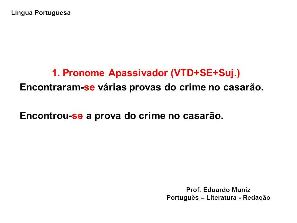 1. Pronome Apassivador (VTD+SE+Suj.) Encontraram-se várias provas do crime no casarão. Encontrou-se a prova do crime no casarão. Língua Portuguesa Pro