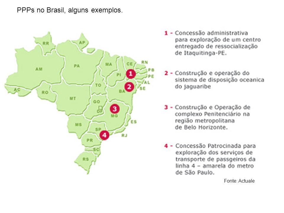 PPPs no Brasil, alguns exemplos. Fonte: Actuale