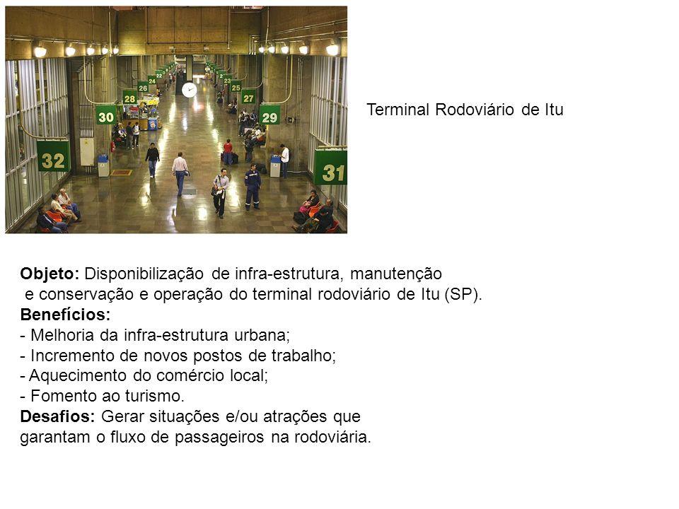 Objeto: Disponibilização de infra-estrutura, manutenção e conservação e operação do terminal rodoviário de Itu (SP). Benefícios: - Melhoria da infra-e