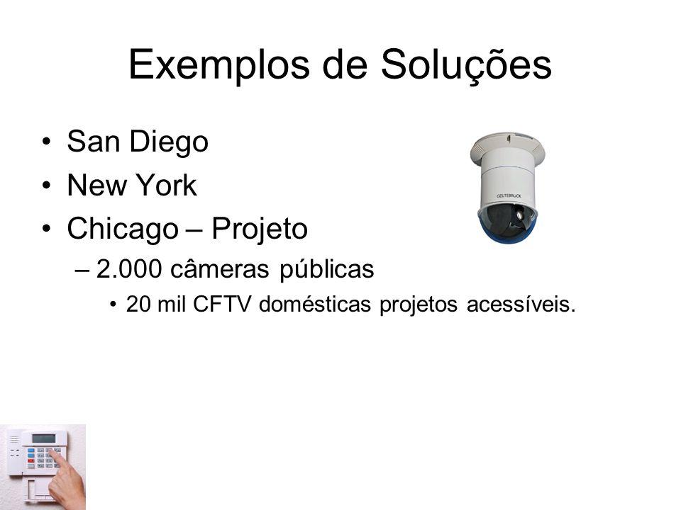 Exemplos de Soluções San Diego New York Chicago – Projeto –2.000 câmeras públicas 20 mil CFTV domésticas projetos acessíveis.