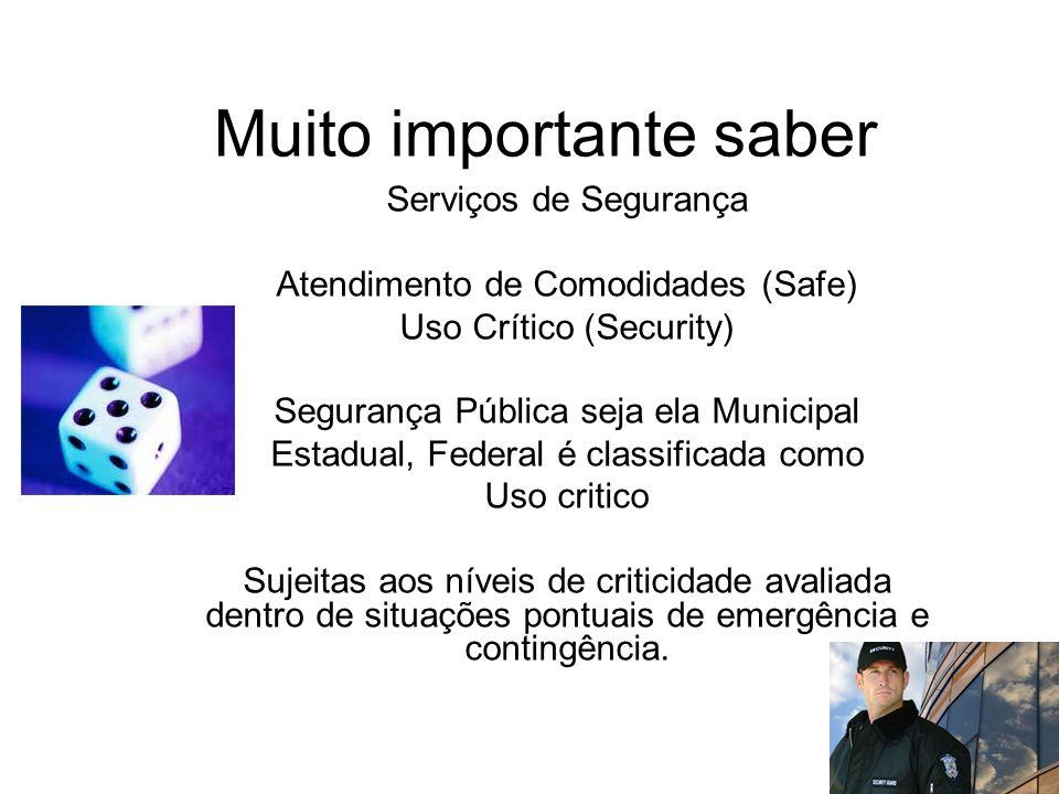 Muito importante saber Serviços de Segurança Atendimento de Comodidades (Safe) Uso Crítico (Security) Segurança Pública seja ela Municipal Estadual, F