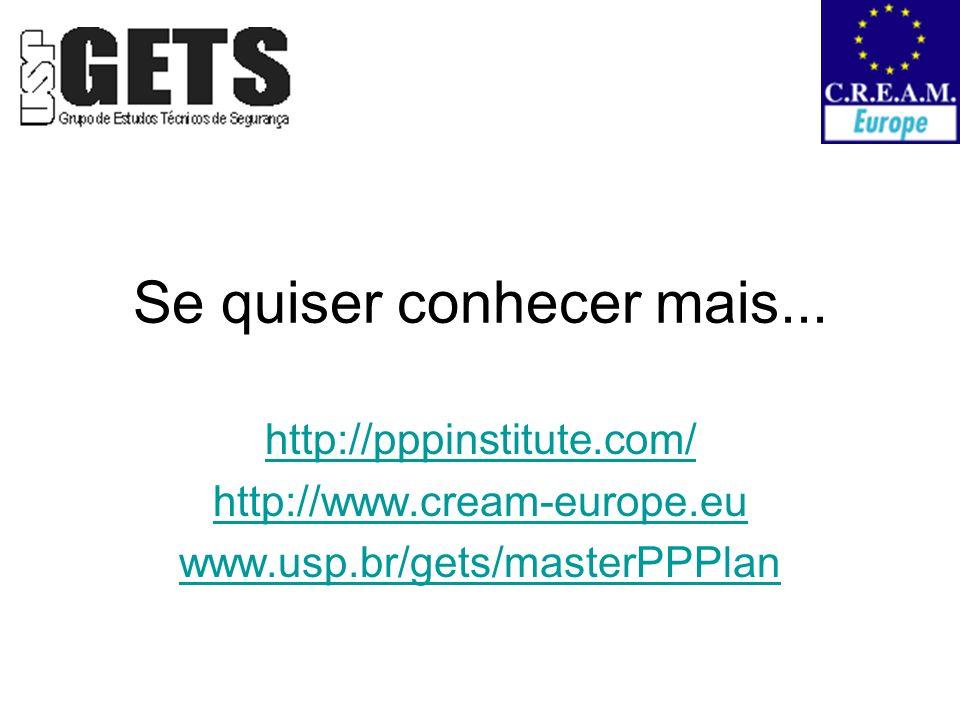 Se quiser conhecer mais... http://pppinstitute.com/ http://www.cream-europe.eu www.usp.br/gets/masterPPPlan