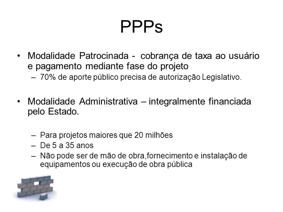PPPs Modalidade Patrocinada - cobrança de taxa ao usuário e pagamento mediante fase do projeto –70% de aporte público precisa de autorização Legislati
