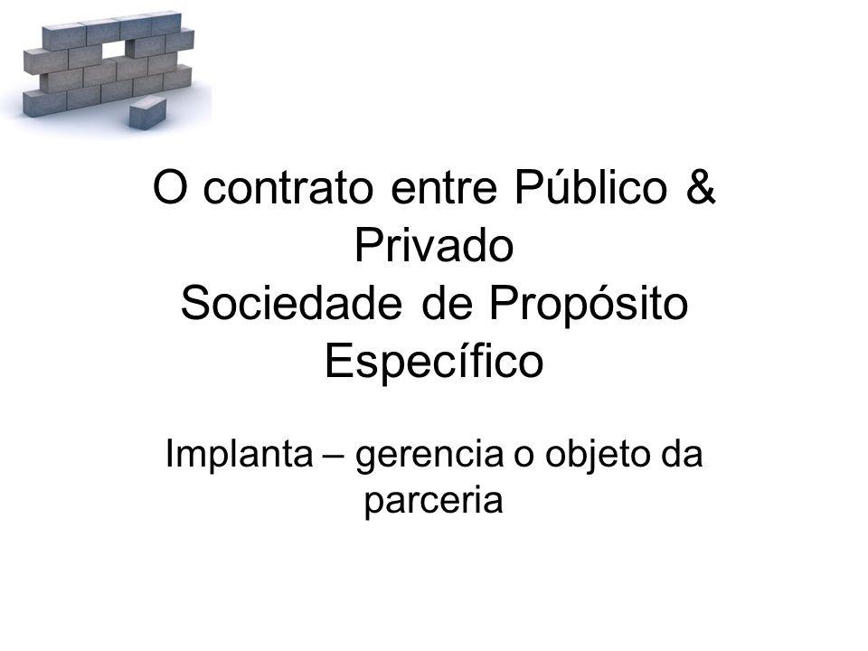 O contrato entre Público & Privado Sociedade de Propósito Específico Implanta – gerencia o objeto da parceria