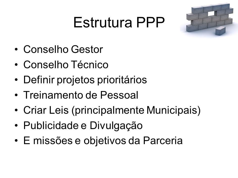 Estrutura PPP Conselho Gestor Conselho Técnico Definir projetos prioritários Treinamento de Pessoal Criar Leis (principalmente Municipais) Publicidade