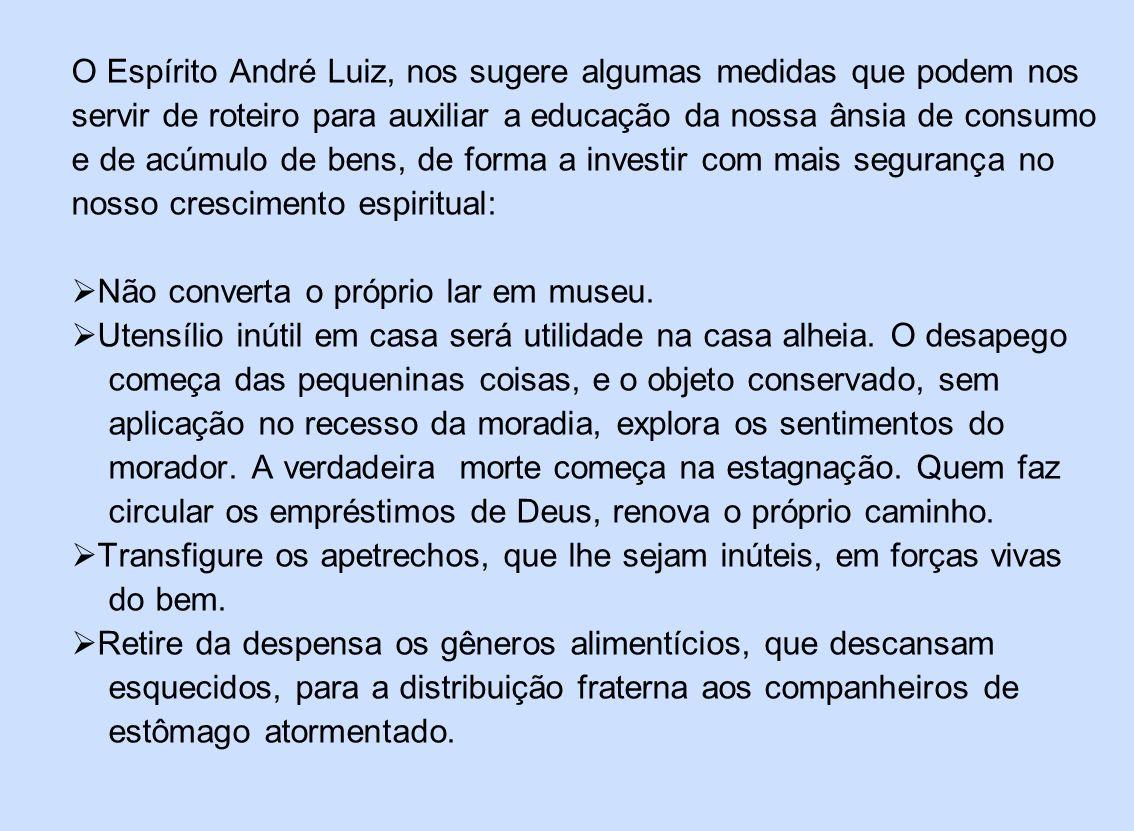 O Espírito André Luiz, nos sugere algumas medidas que podem nos servir de roteiro para auxiliar a educação da nossa ânsia de consumo e de acúmulo de b