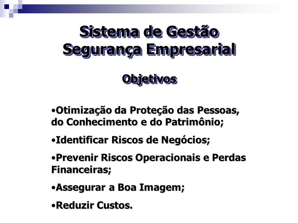Sistema de Gestão Segurança Empresarial Objetivos Objetivos Otimização da Proteção das Pessoas, do Conhecimento e do Patrimônio;Otimização da Proteção