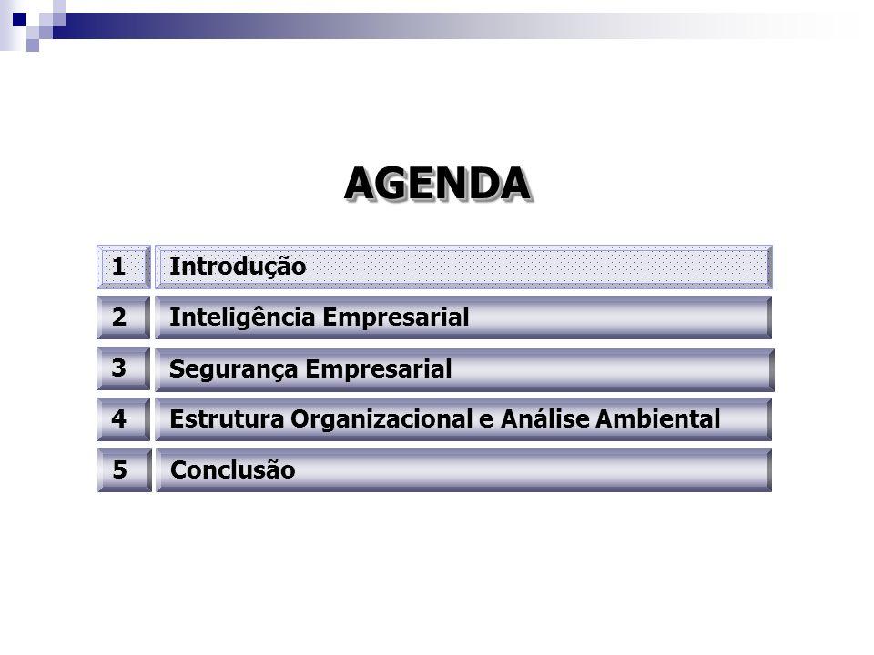 AGENDAAGENDA 2Inteligência Empresarial 3 4 1Introdução Segurança Empresarial Estrutura Organizacional e Análise Ambiental 5Conclusão