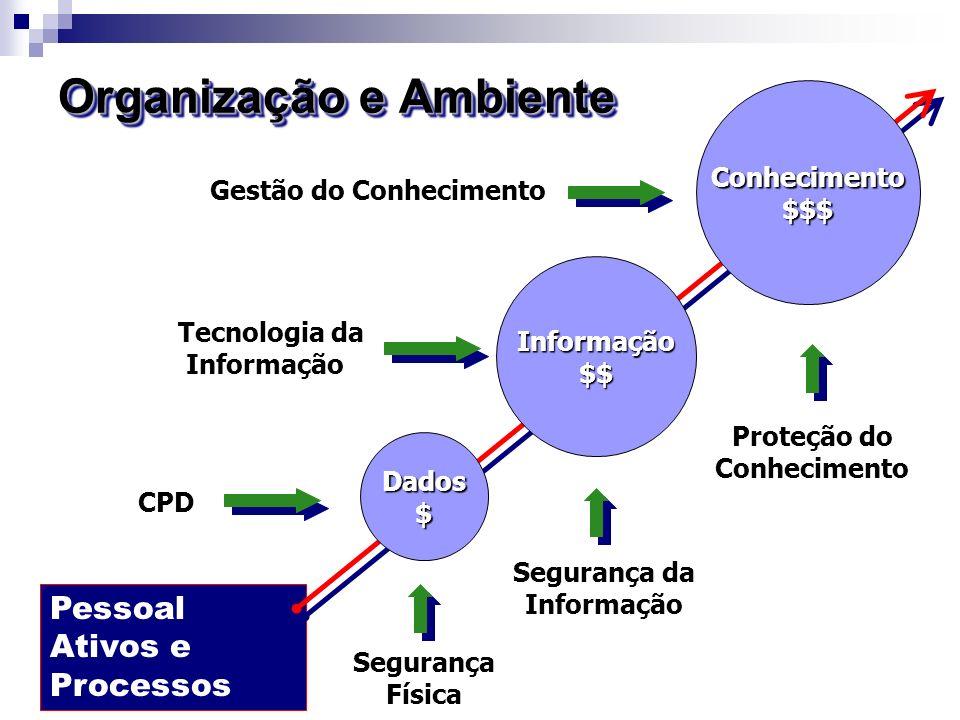 Pessoal Ativos e Processos Organização e Ambiente Informação$$ Dados$ Conhecimento$$$ Gestão do Conhecimento Tecnologia da Informação CPD Segurança Fí