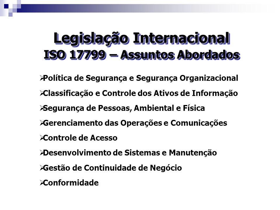 Legislação Internacional ISO 17799 – Assuntos Abordados Política de Segurança e Segurança Organizacional Classificação e Controle dos Ativos de Inform