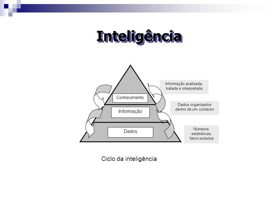 InteligênciaInteligência Números, estatísticas, fatos isolados Dados organizados dentro de um contexto Informação analisada, tratada e interpretada Da