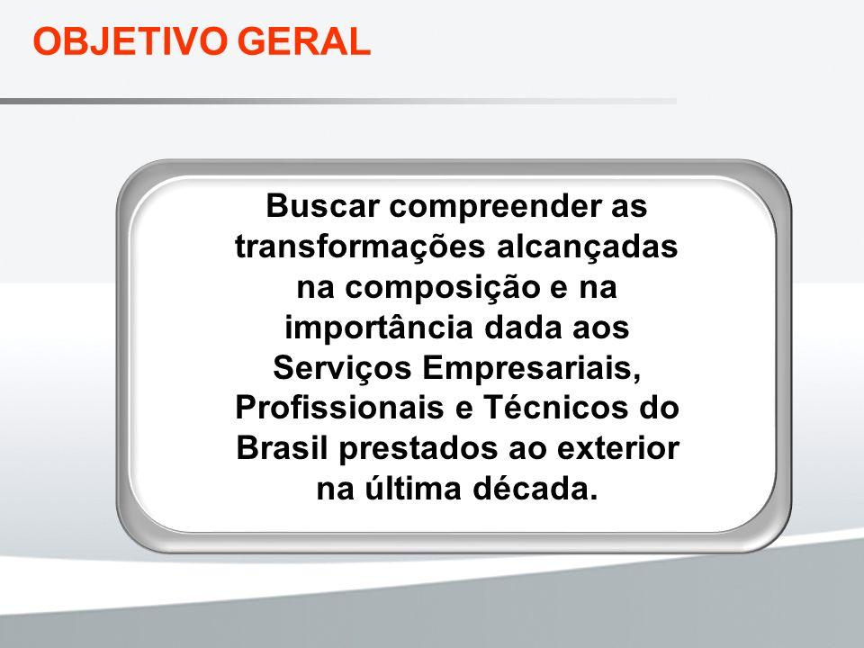 OBJETIVO GERAL Buscar compreender as transformações alcançadas na composição e na importância dada aos Serviços Empresariais, Profissionais e Técnicos