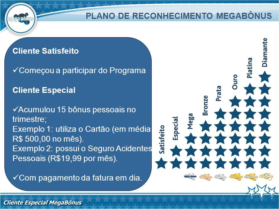 Cliente Satisfeito Começou a participar do Programa Cliente Especial Acumulou 15 bônus pessoais no trimestre; Exemplo 1: utiliza o Cartão (em média R$