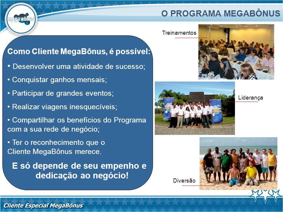 O PROGRAMA MEGABÔNUS Como Cliente MegaBônus, é possível: Desenvolver uma atividade de sucesso; Conquistar ganhos mensais; Participar de grandes evento