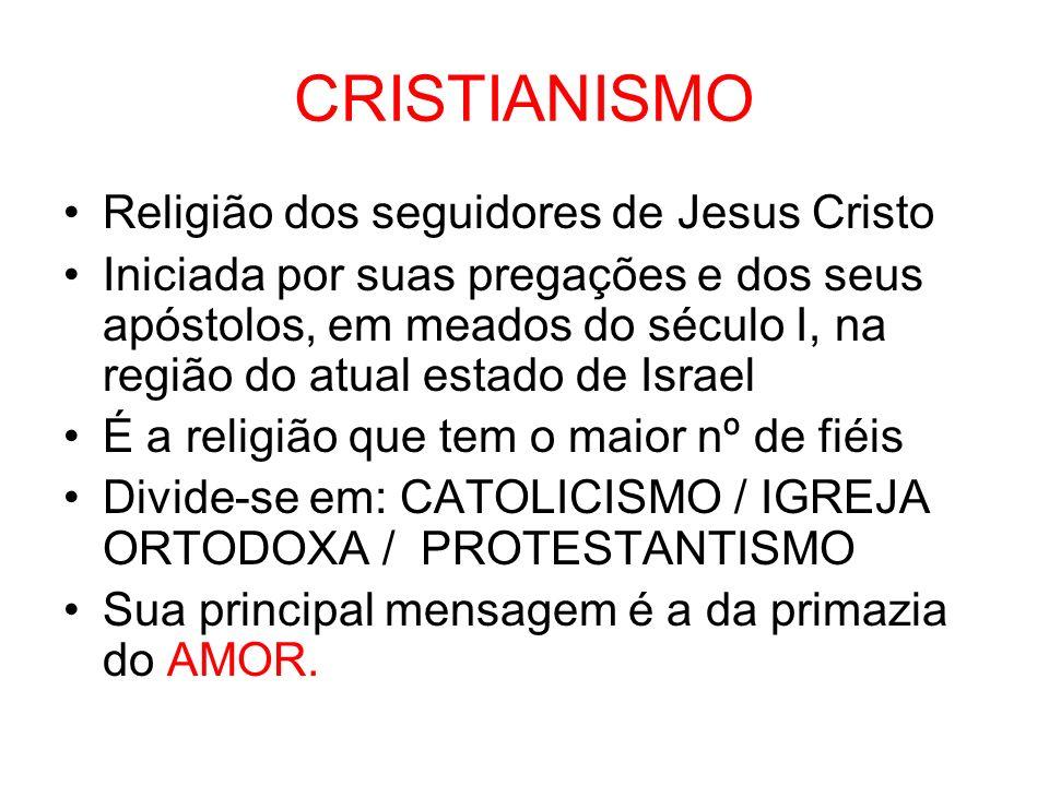 CRISTIANISMO Religião dos seguidores de Jesus Cristo Iniciada por suas pregações e dos seus apóstolos, em meados do século I, na região do atual estad