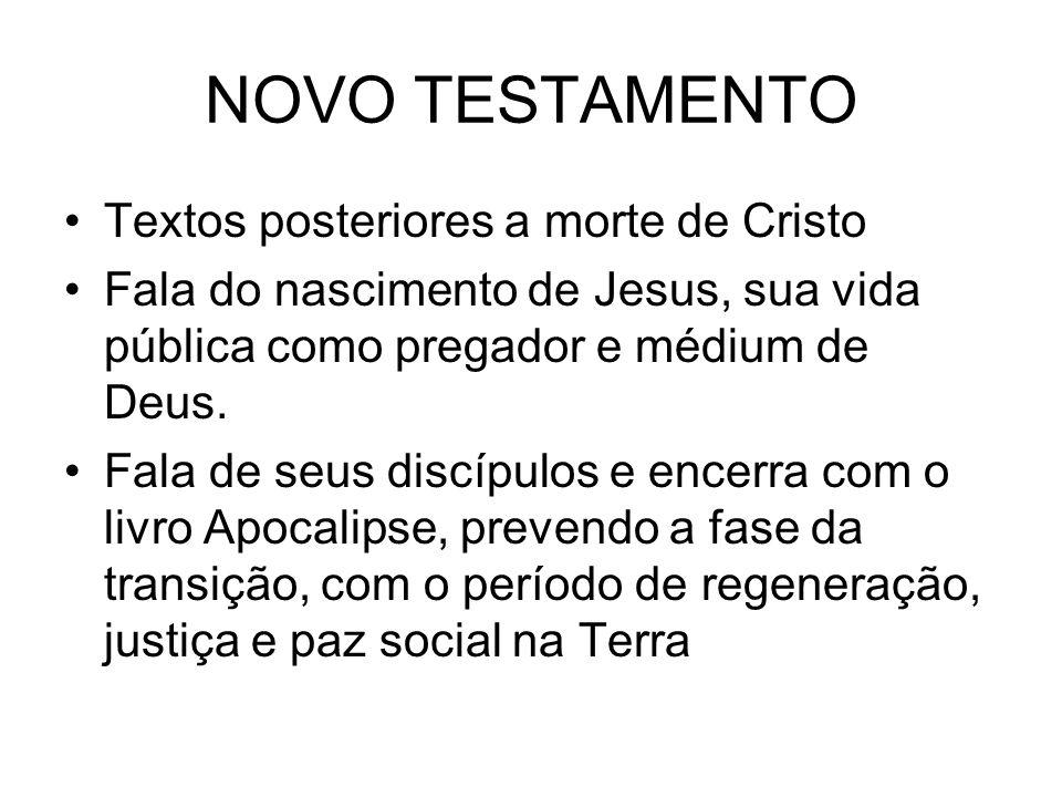 NOVO TESTAMENTO Textos posteriores a morte de Cristo Fala do nascimento de Jesus, sua vida pública como pregador e médium de Deus. Fala de seus discíp