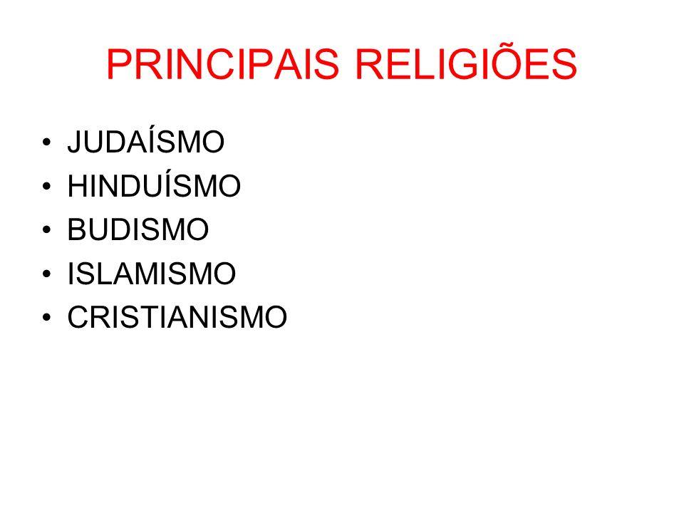 PRINCIPAIS RELIGIÕES JUDAÍSMO HINDUÍSMO BUDISMO ISLAMISMO CRISTIANISMO