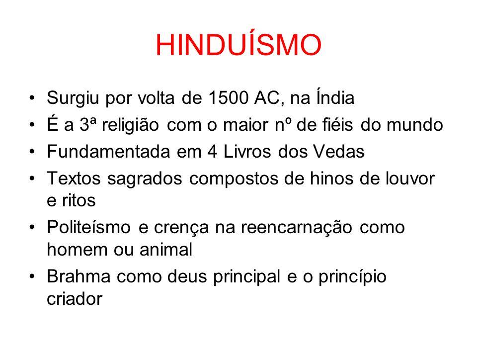HINDUÍSMO Surgiu por volta de 1500 AC, na Índia É a 3ª religião com o maior nº de fiéis do mundo Fundamentada em 4 Livros dos Vedas Textos sagrados co