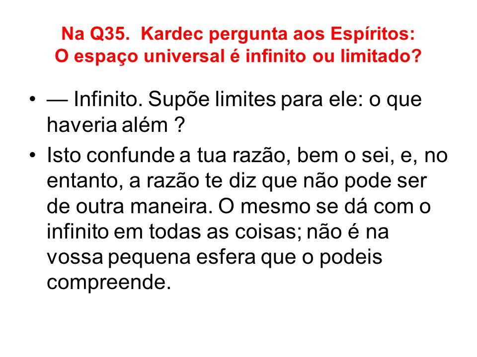 Na Q35. Kardec pergunta aos Espíritos: O espaço universal é infinito ou limitado? Infinito. Supõe limites para ele: o que haveria além ? Isto confunde