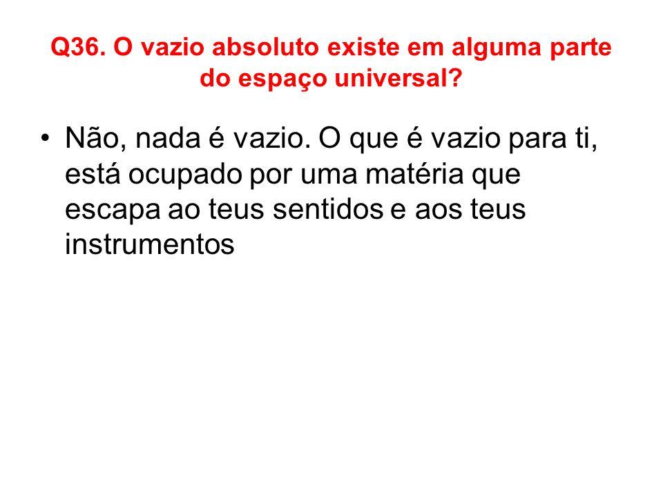 Q36. O vazio absoluto existe em alguma parte do espaço universal? Não, nada é vazio. O que é vazio para ti, está ocupado por uma matéria que escapa ao