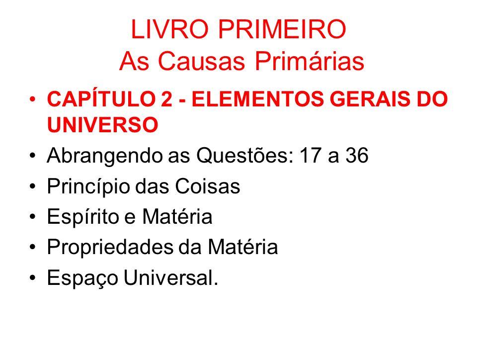 LIVRO PRIMEIRO As Causas Primárias CAPÍTULO 2 - ELEMENTOS GERAIS DO UNIVERSO Abrangendo as Questões: 17 a 36 Princípio das Coisas Espírito e Matéria P