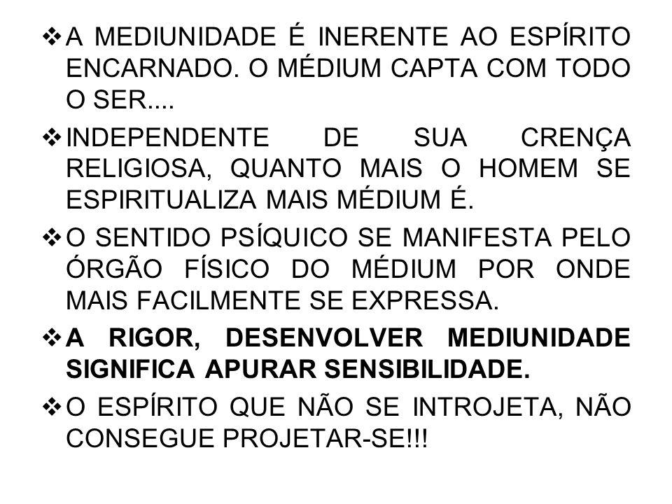 A MEDIUNIDADE É INERENTE AO ESPÍRITO ENCARNADO. O MÉDIUM CAPTA COM TODO O SER....