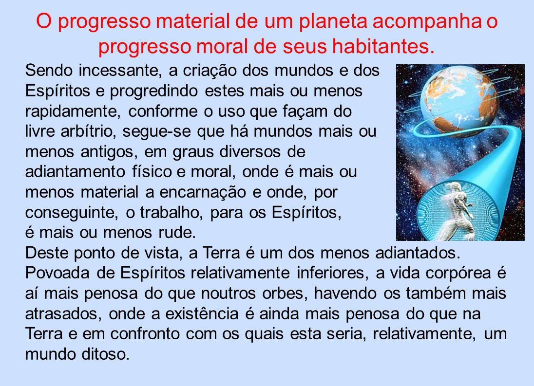O progresso material de um planeta acompanha o progresso moral de seus habitantes. Sendo incessante, a criação dos mundos e dos Espíritos e progredind