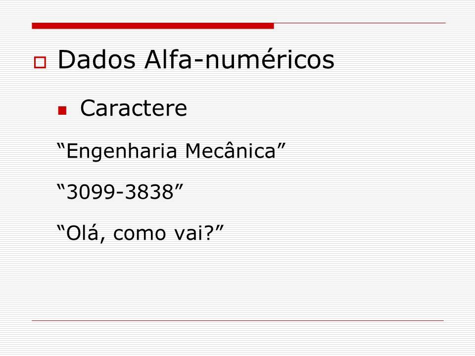 Dados Alfa-numéricos Caractere Engenharia Mecânica 3099-3838 Olá, como vai?