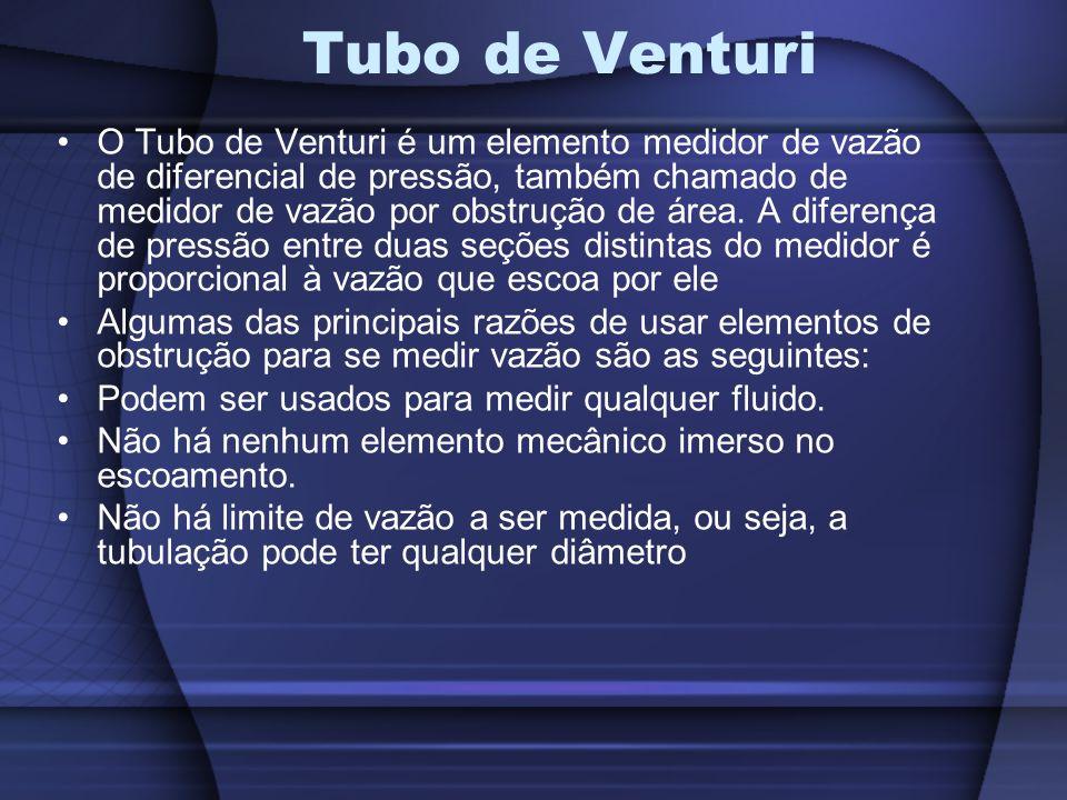 O Tubo de Venturi é um elemento medidor de vazão de diferencial de pressão, também chamado de medidor de vazão por obstrução de área. A diferença de p