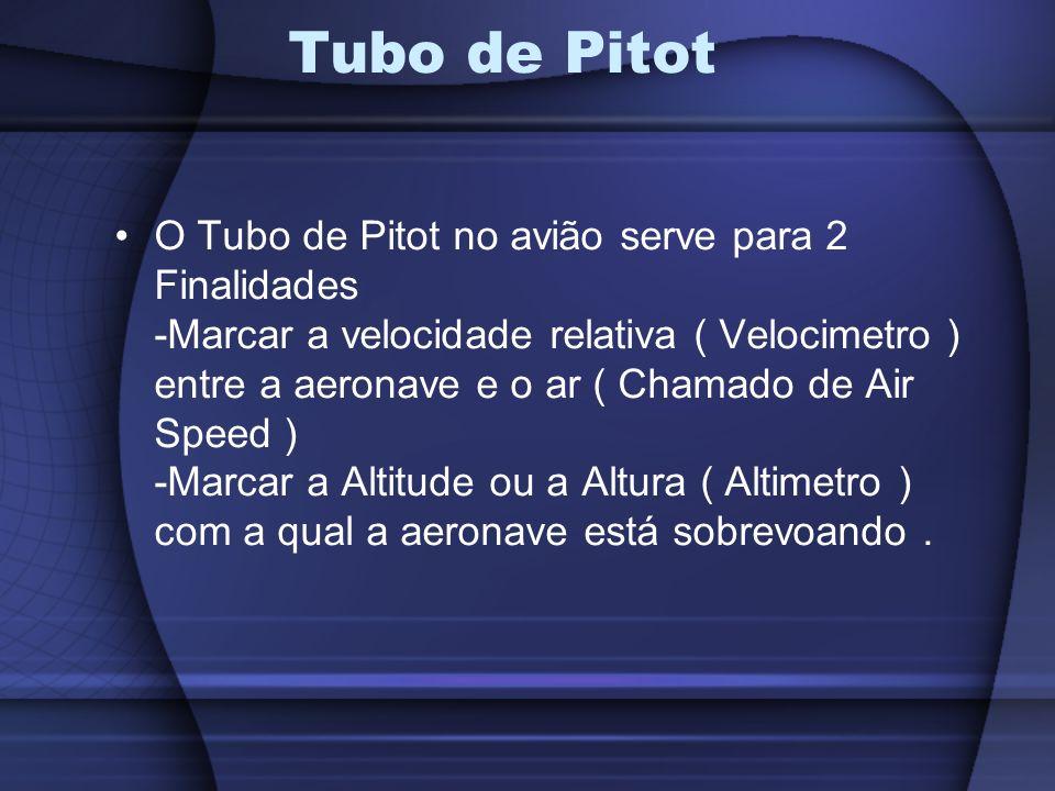 O Tubo de Pitot no avião serve para 2 Finalidades -Marcar a velocidade relativa ( Velocimetro ) entre a aeronave e o ar ( Chamado de Air Speed ) -Marc