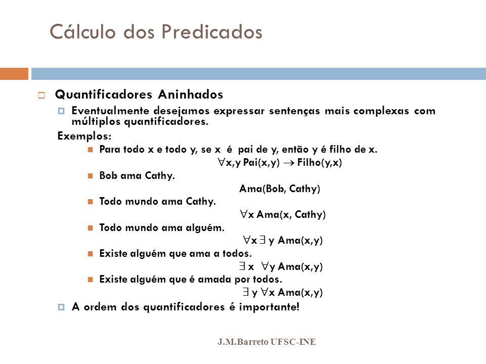 Cálculo dos Predicados J.M.Barreto UFSC-INE Quantificadores Aninhados Eventualmente desejamos expressar sentenças mais complexas com múltiplos quantif