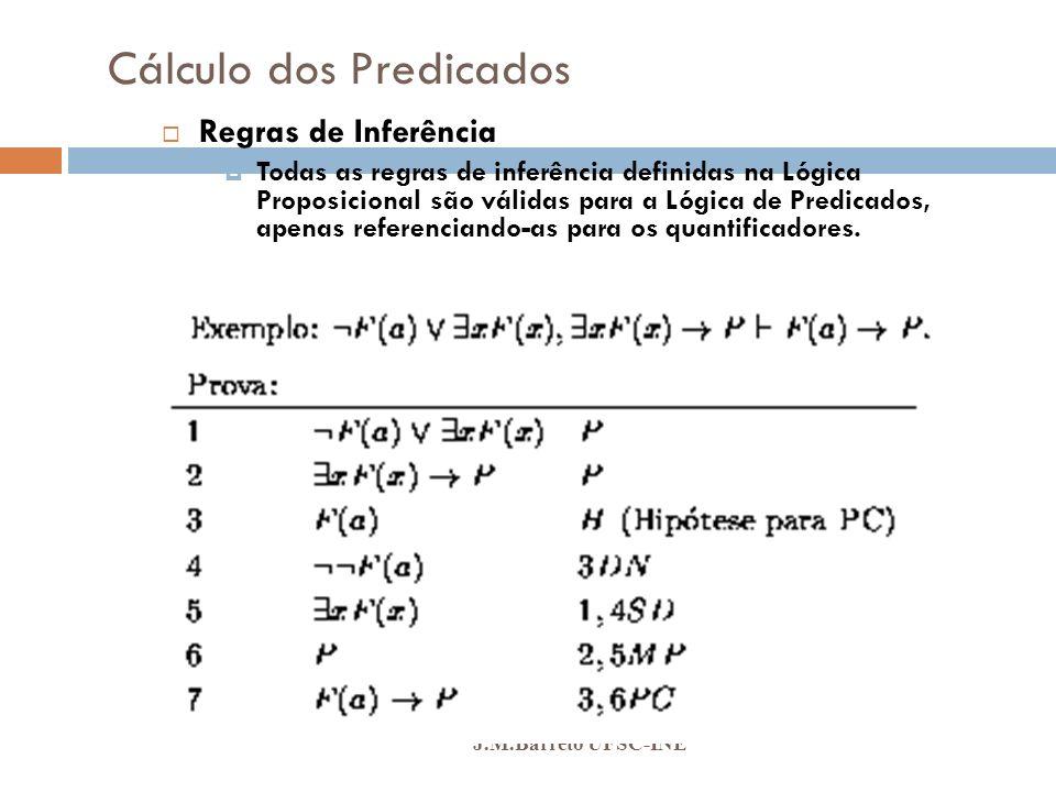 Cálculo dos Predicados J.M.Barreto UFSC-INE Regras de Inferência Todas as regras de inferência definidas na Lógica Proposicional são válidas para a Ló