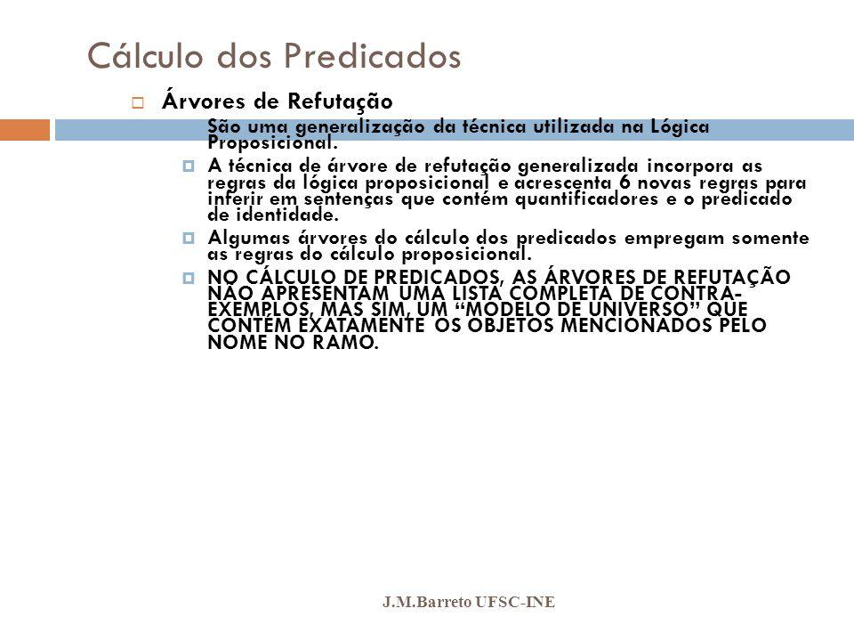Cálculo dos Predicados J.M.Barreto UFSC-INE Árvores de Refutação São uma generalização da técnica utilizada na Lógica Proposicional. A técnica de árvo