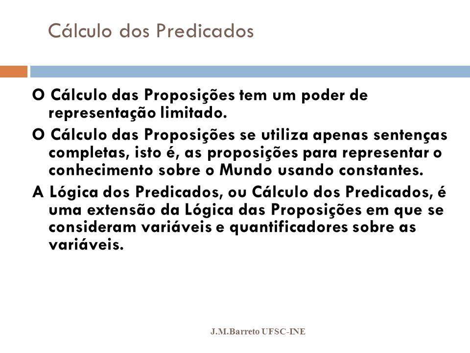 Cálculo dos Predicados J.M.Barreto UFSC-INE O Cálculo dos Predicados se preocupa em introduzir noções lógicas para expressar qualquer conjunto de fatos através de Classes de Atributos e de Quantificadores.
