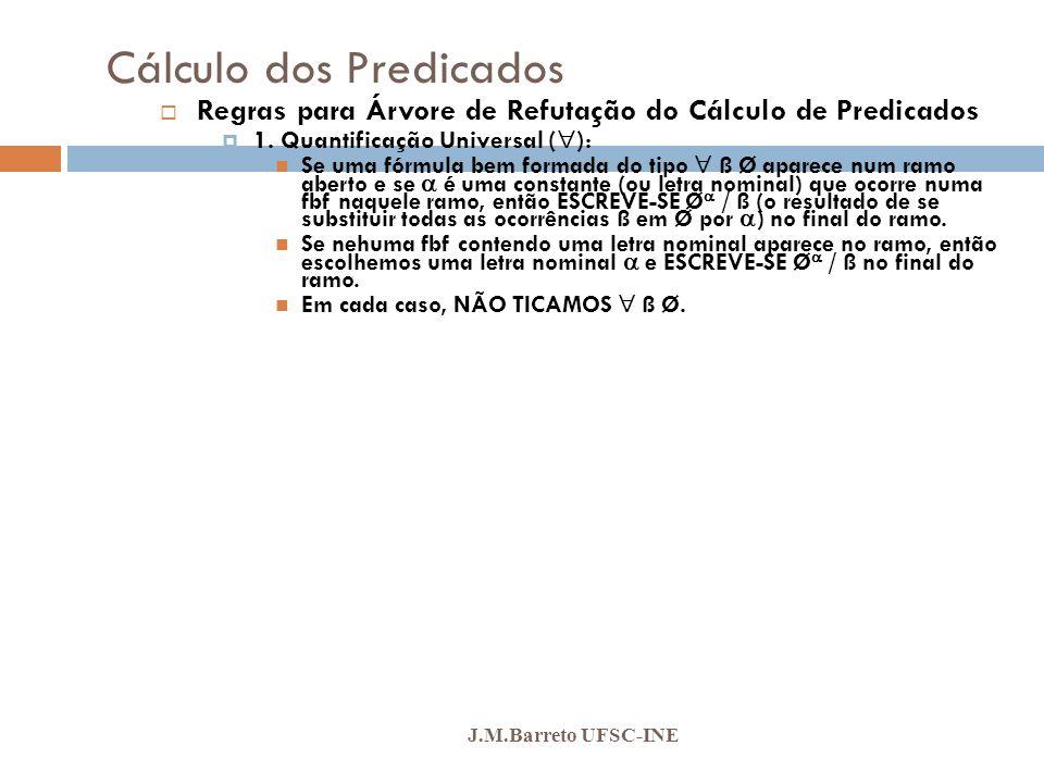 Cálculo dos Predicados J.M.Barreto UFSC-INE Regras para Árvore de Refutação do Cálculo de Predicados 1. Quantificação Universal ( ): Se uma fórmula be